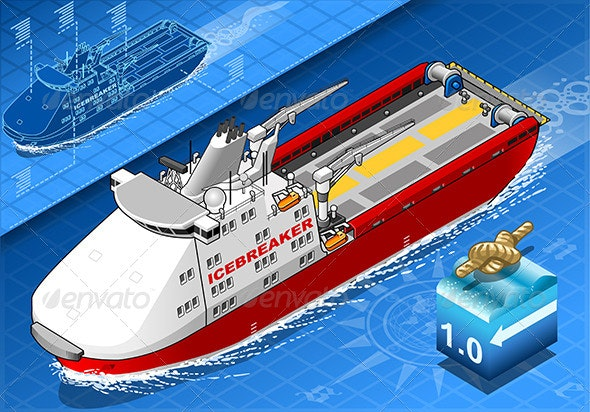 Isometric Icebreaker Ship in Navigation in Front - Objects Vectors