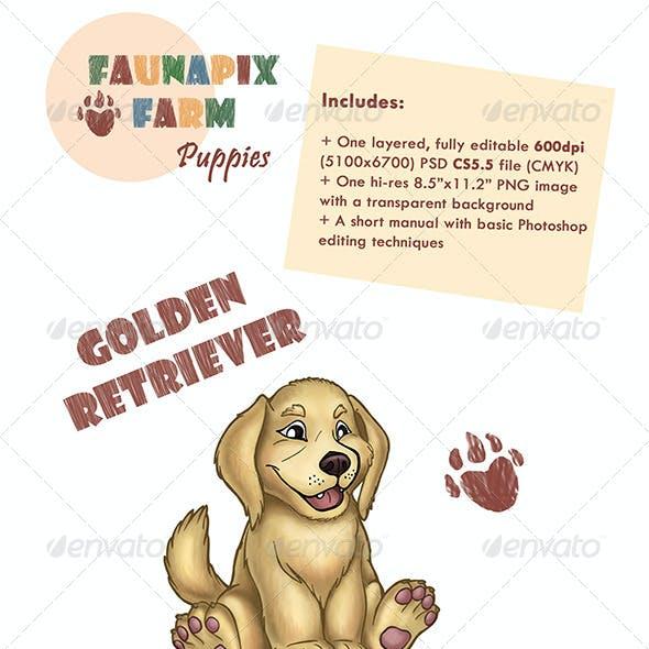 Golden Retriever Pup Illustration