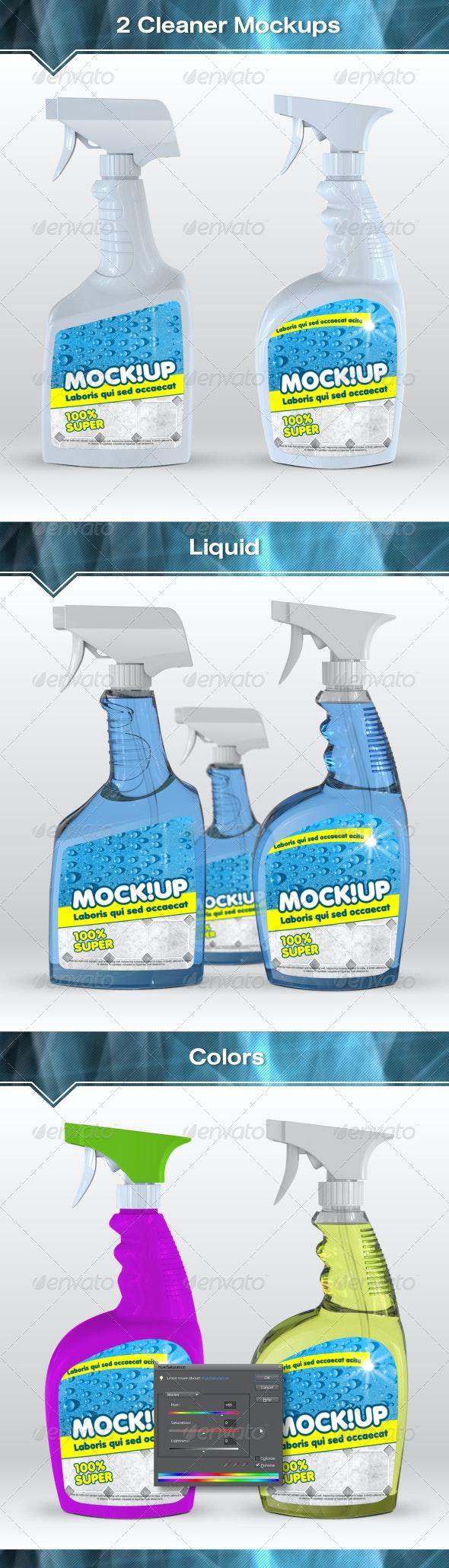 2 Cleanser Bottle Mockups - Packaging Product Mock-Ups