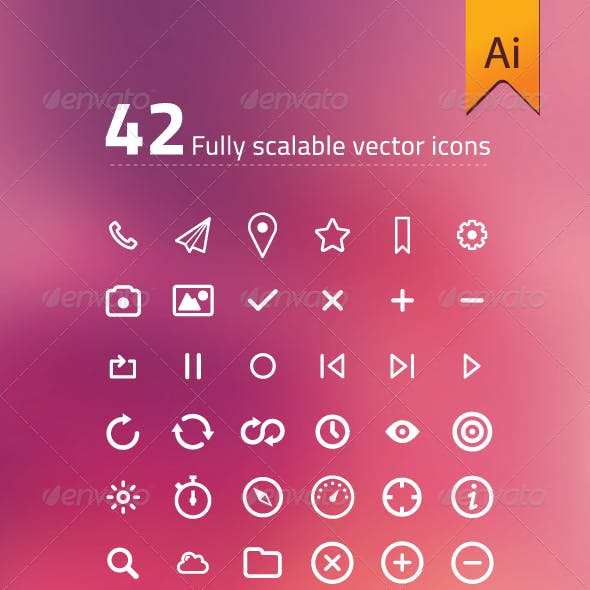 42 Fully Scalable Vector Icons