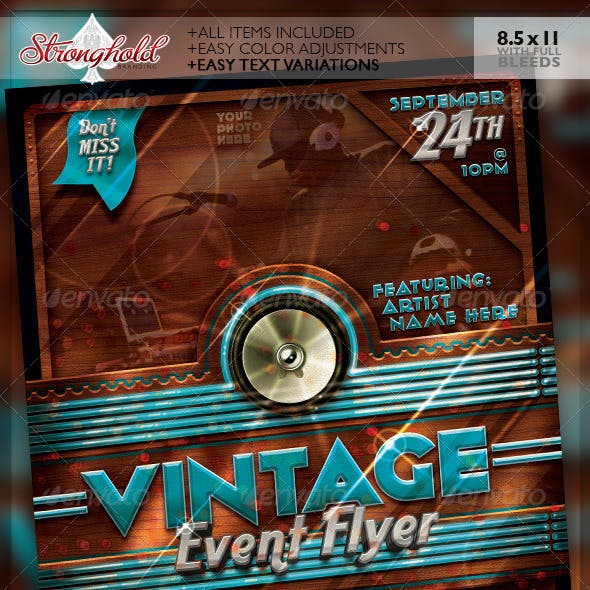 Vintage Neon Event Party Flyer Template