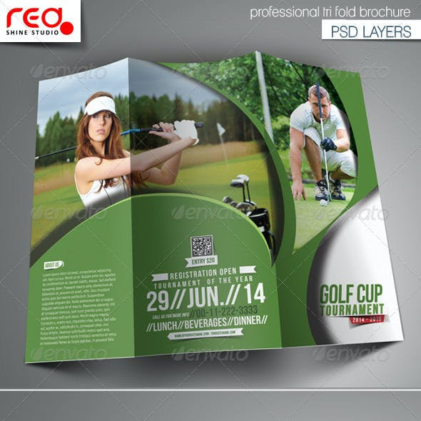 Golf Cup Tournament Trifold Brochure Template