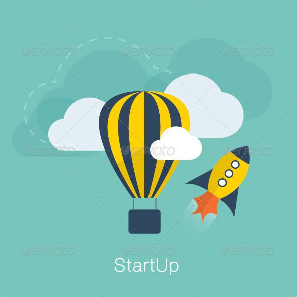 Flat New Project Startup Concept
