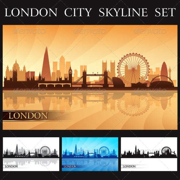 London City Skyline Silhouettes Set