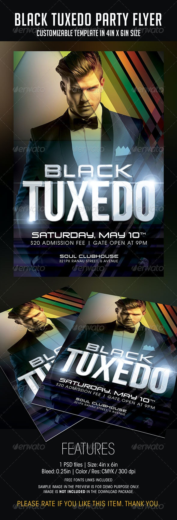 Black Tuxedo Party Flyer - Clubs & Parties Events
