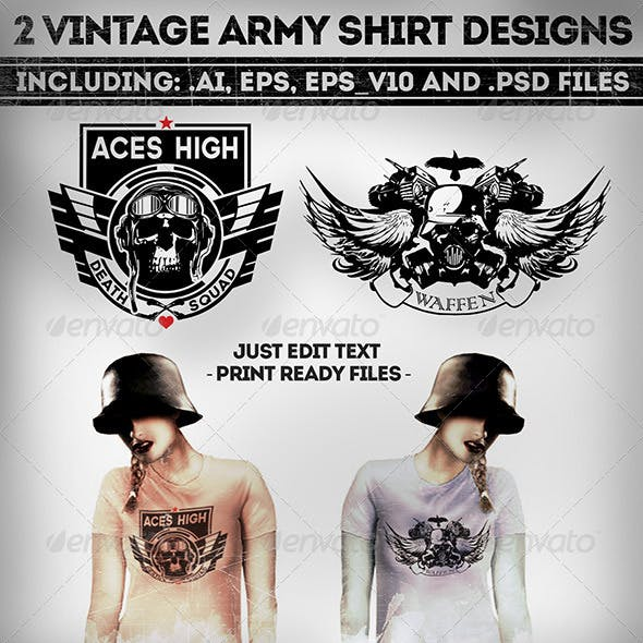 2 Military Vintage T-Shirt Designs
