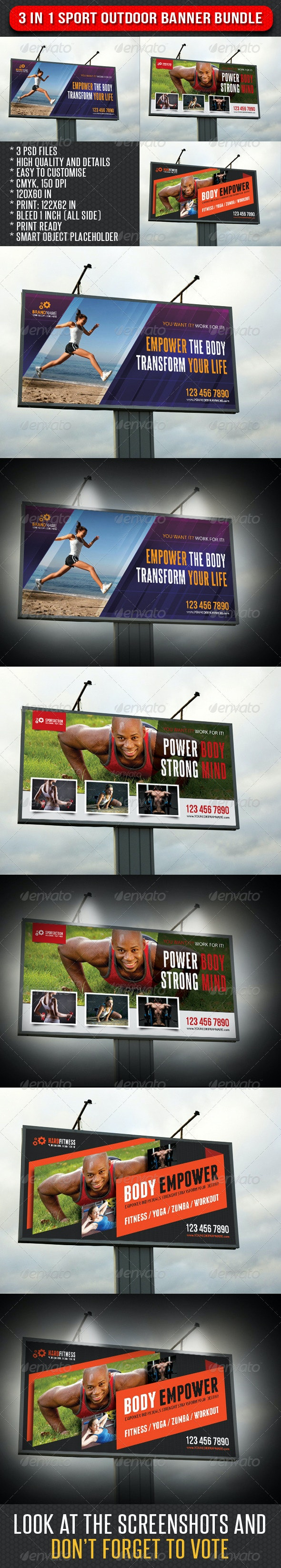 3 in 1 Sport Outdoor Banner Bundle 05 - Signage Print Templates