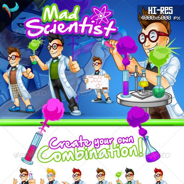 Mad Scientist Cartoon Mascot
