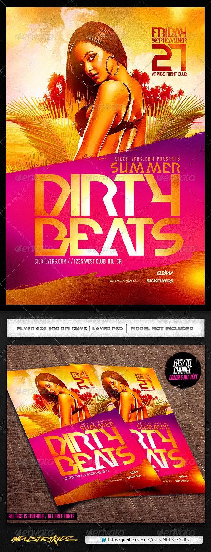 Summer Dirty Beats Flyer Template PSD - Clubs & Parties Events