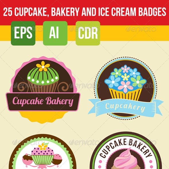 25 Bakery, Cupcake and Ice Cream Badges Bundle