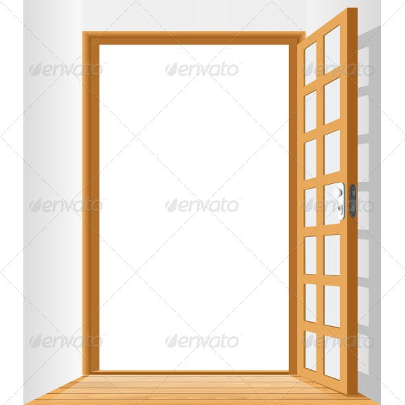 Open Door To Area With White Background