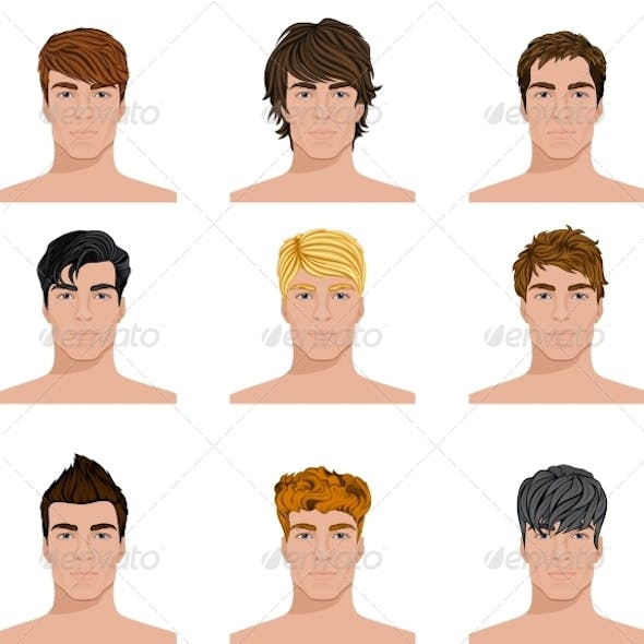 Different Hairstyle Men Faces Icons Set