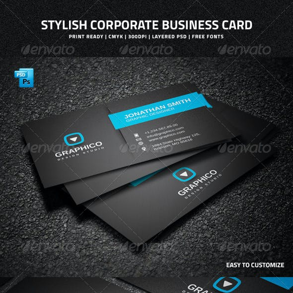 Stylish Corporate Business Card - 35