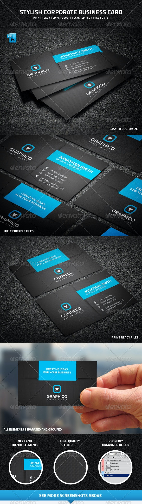 Stylish Corporate Business Card - 35 - Creative Business Cards