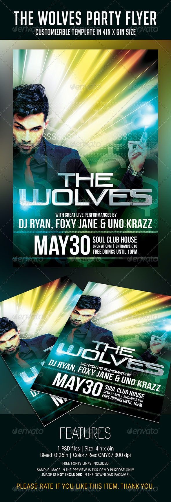 The Wolves Party Flyer - Clubs & Parties Events