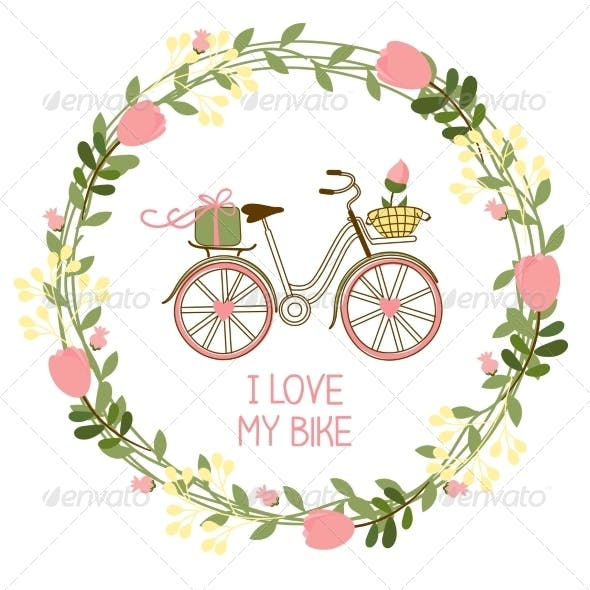 Floral Wreath with Bike