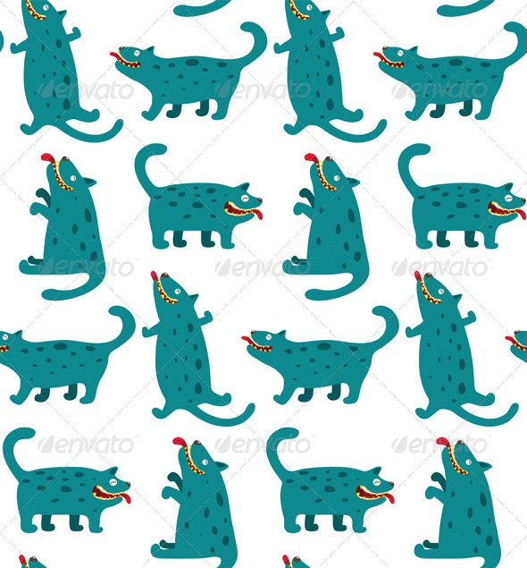 Cartoon Monster Dogs Seamless Pattern - Animals Characters