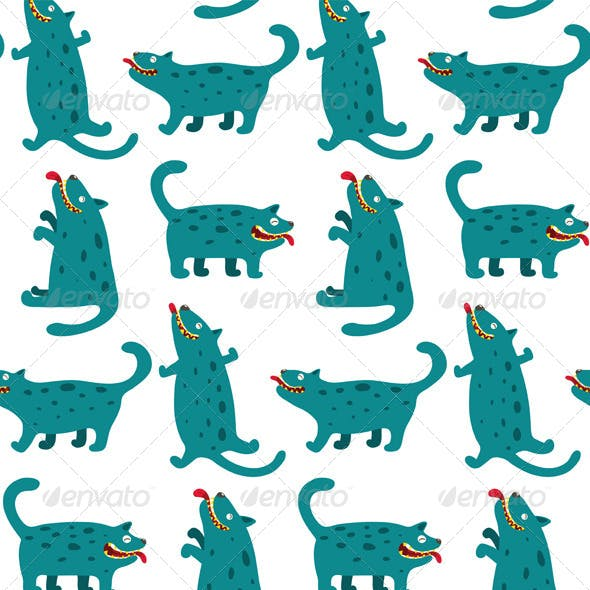 Cartoon Monster Dogs Seamless Pattern
