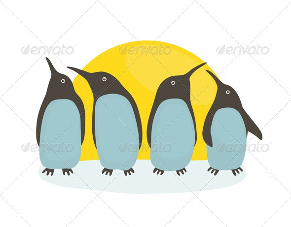 Penguins and Sun - Animals Characters
