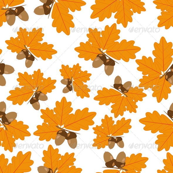 Acorns with Oak Leaves in Autumn Seamless Texture