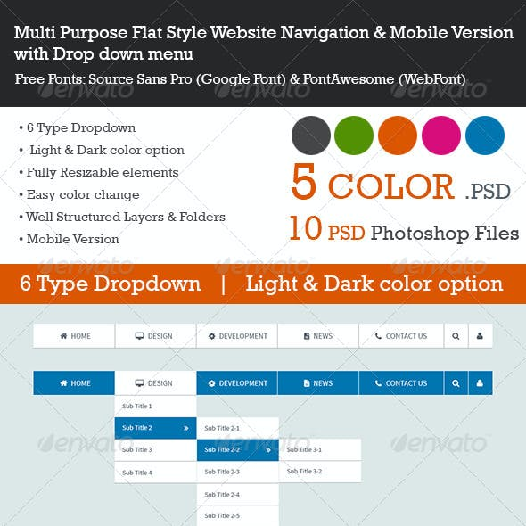 Multi Purpose Flat Style Website Navigation & Mobi