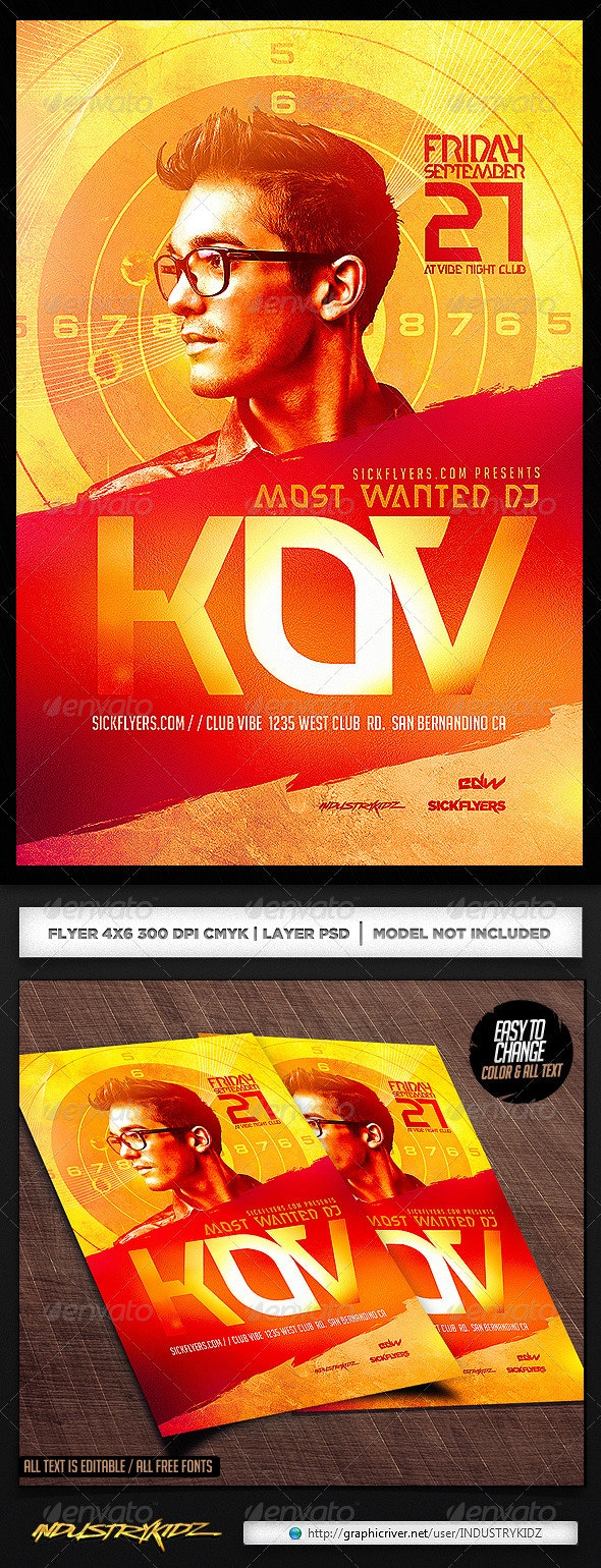 Most Wanted Flyer Template PSD - Clubs & Parties Events