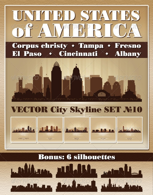 Vector City Skyline USA Set Number 10 - Buildings Objects