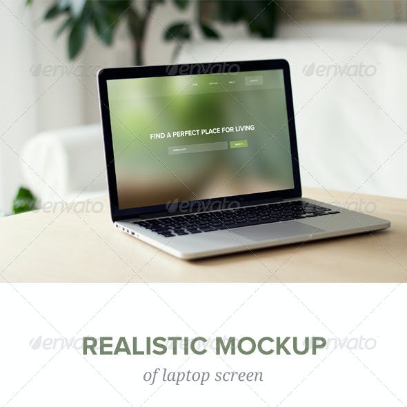 Realistic Laptop Screen Mockup - 8 PSD files