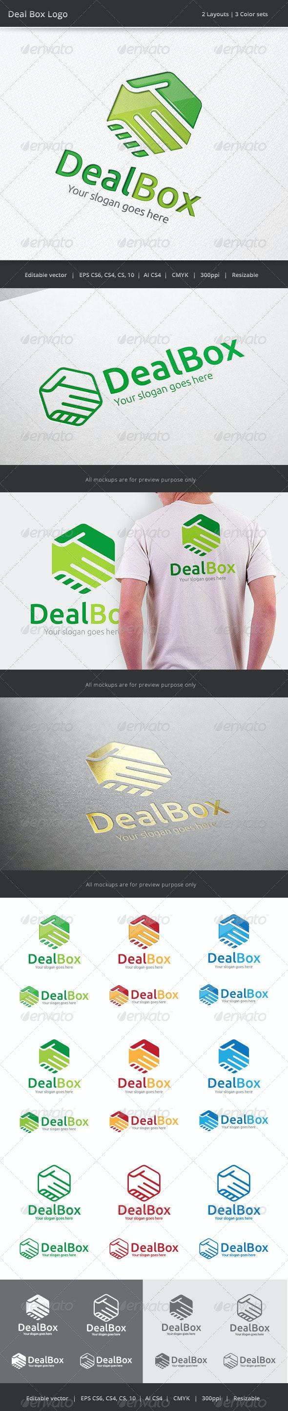 Deal Box Hand Shake Logo - Objects Logo Templates