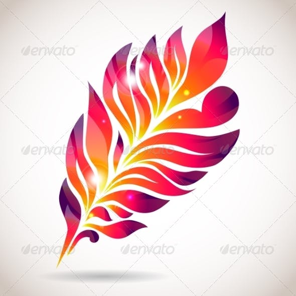Abstract Colorful Isolated Pink Feather