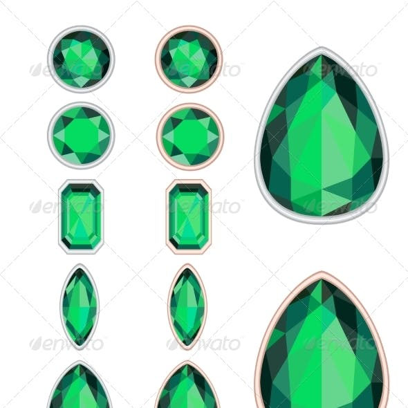 Set of Five Forms of Emerald
