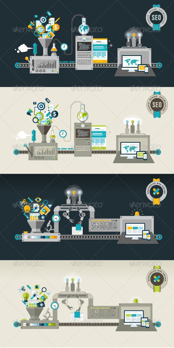 Flat Design Concepts for Web and SEO - Technology Conceptual