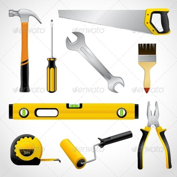 Realistic Carpenter Tools Icons Collection
