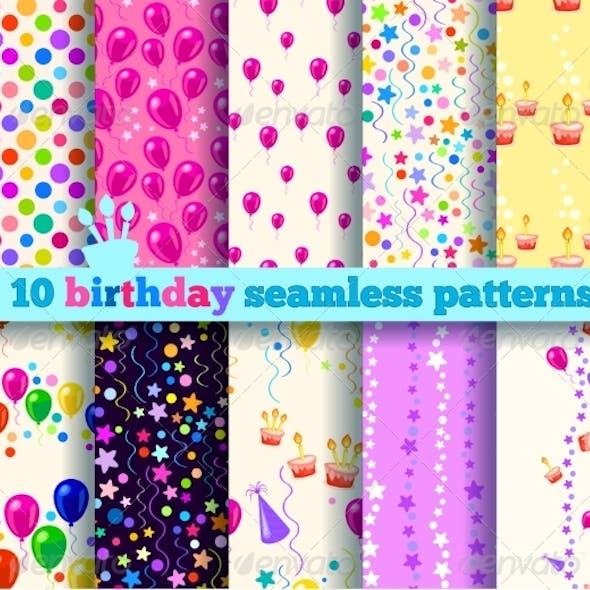Ten Birthday Seamless Pattern