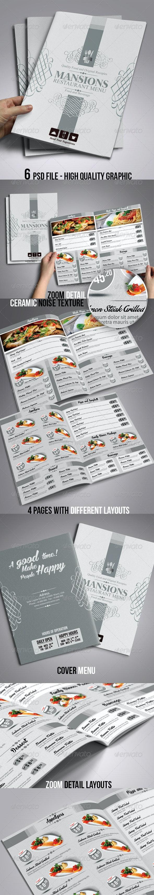 Restaurant Food & Beverage Menu Template - Food Menus Print Templates