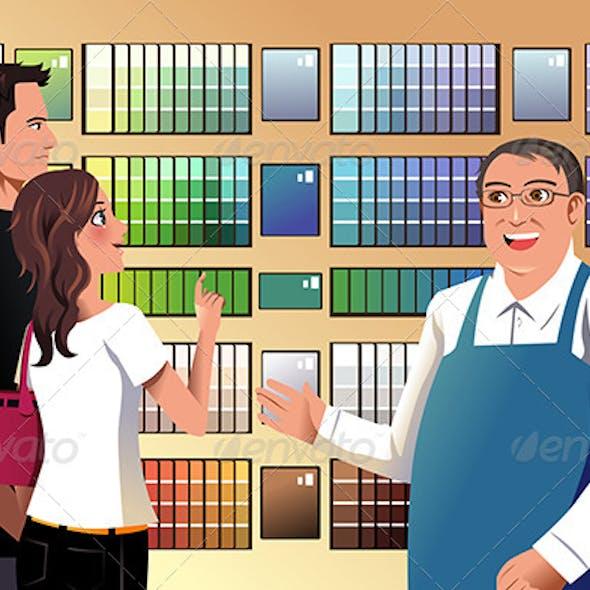 Couple Choosing Paint
