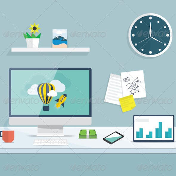 Flat Desktop Office Vector Concept
