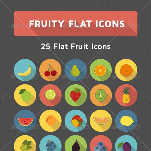Flat Fruit Icon Set