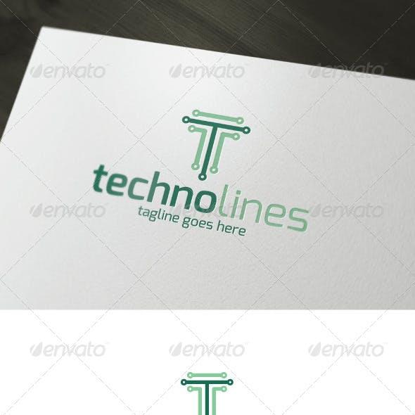 Techno Lines Logo — Letter T