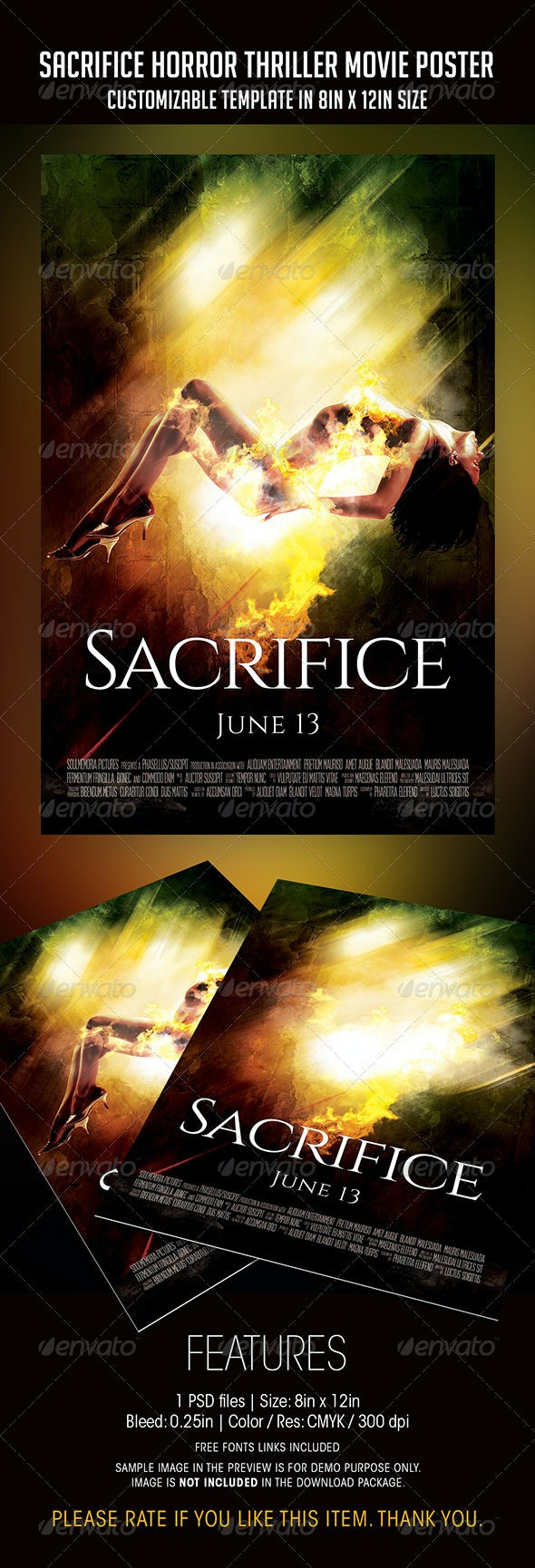 Sacrifice   Horror Thriller Movie Poster - Flyers Print Templates