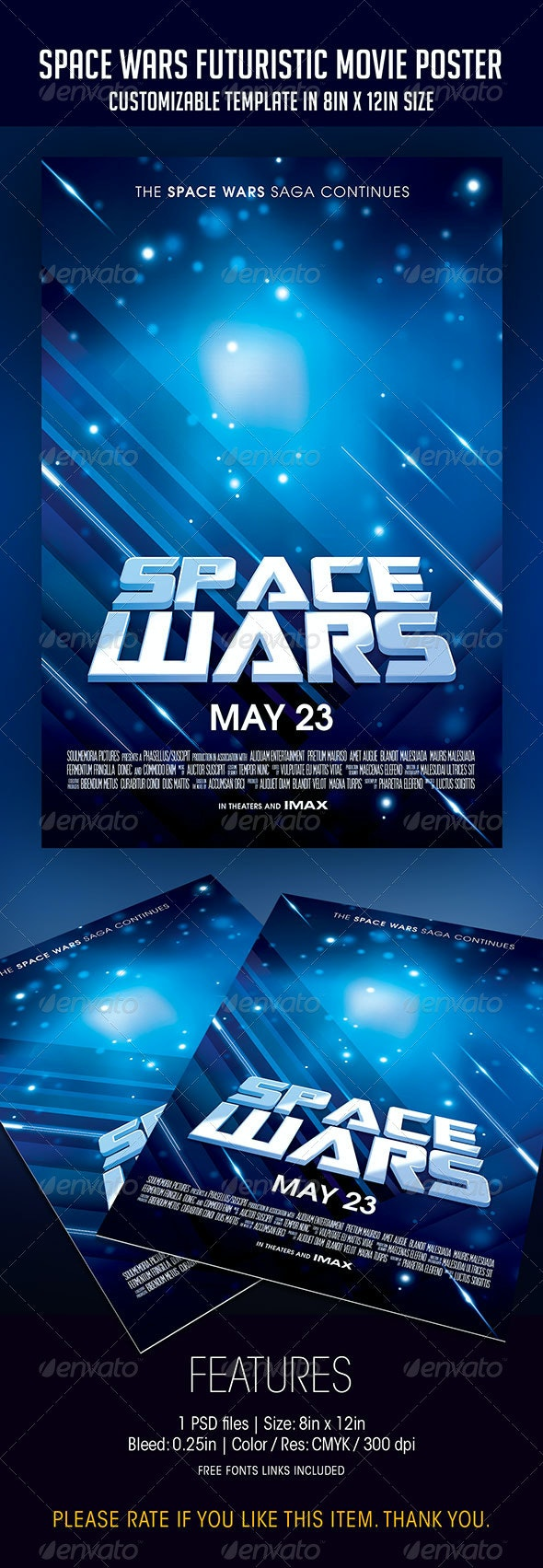 Space Wars | Futuristic Movie Poster - Flyers Print Templates