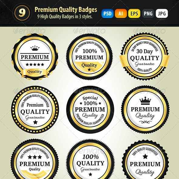 Premium Quality Badges In 3 Styles