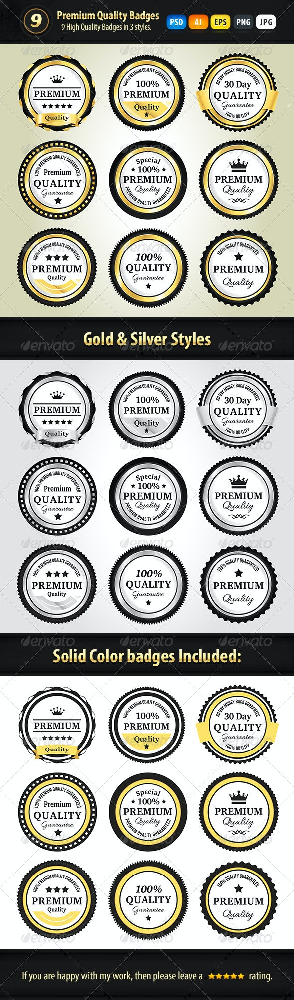 Premium Quality Badges In 3 Styles - Badges & Stickers Web Elements