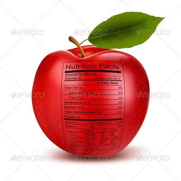 Apple with Nutrition Facts Label.
