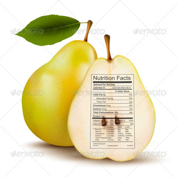Pear with Nutrition Facts Label.