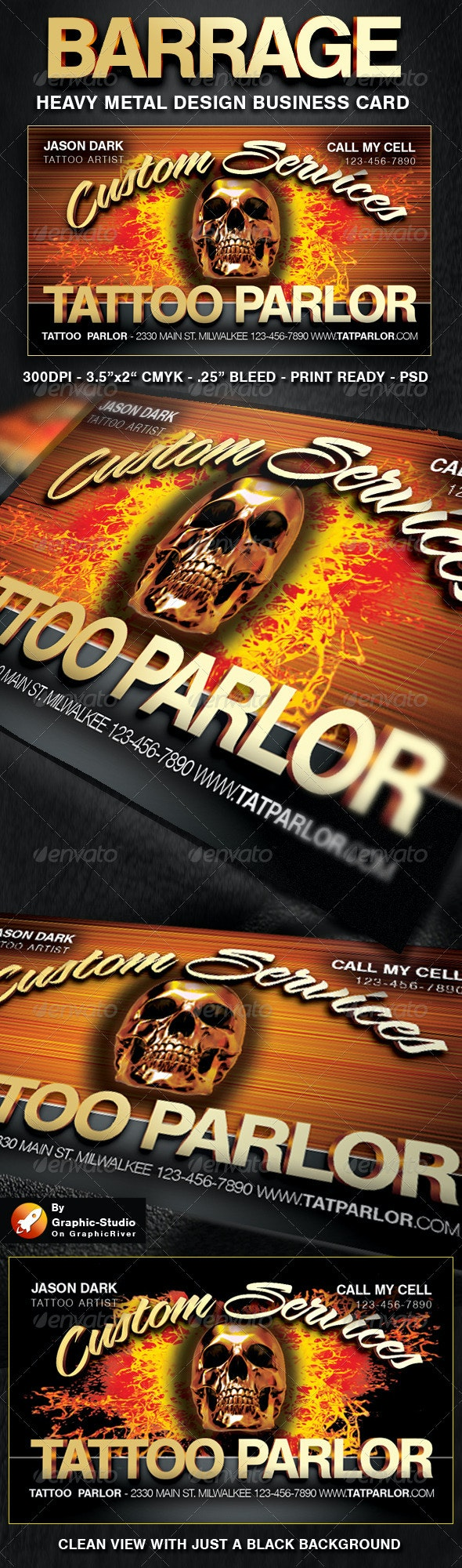 Heavy Metal Business Cards for Businesses - Business Cards Print Templates