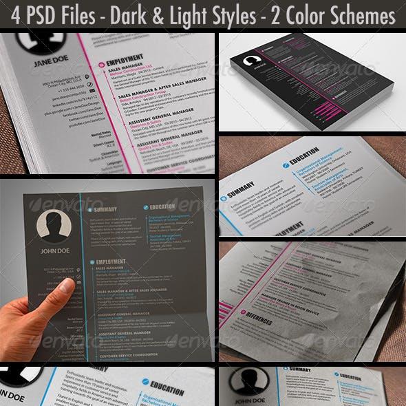 Light & Dark / Pink & Blue / Resume / CV