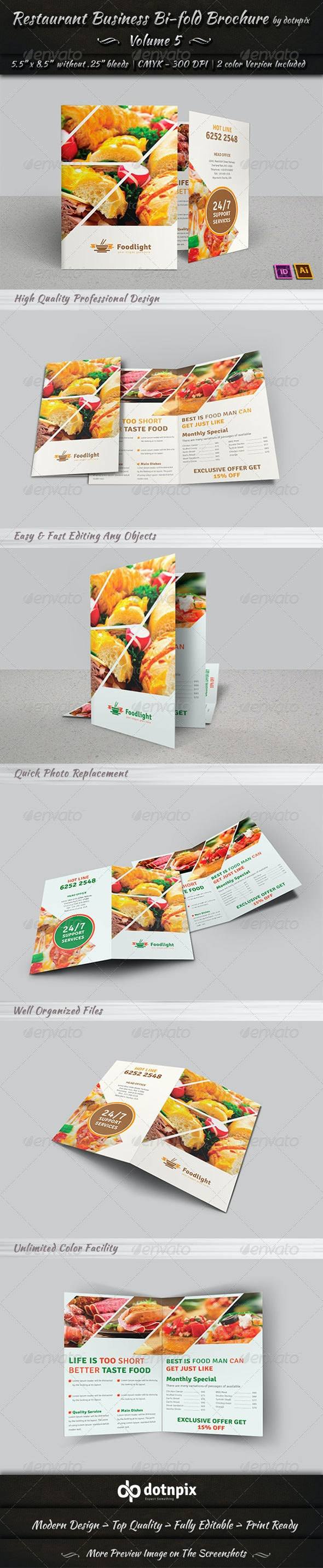 Restaurant Business Bi-Fold Brochure | Volume 5 - Corporate Brochures