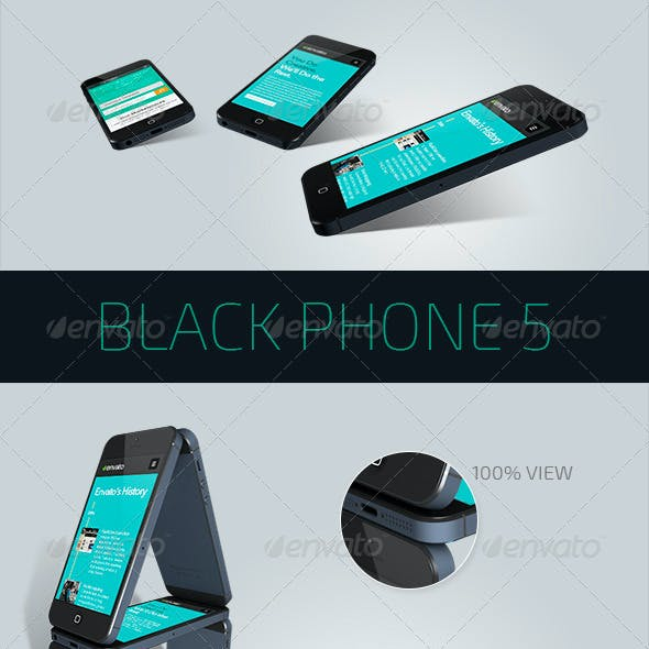 Black Phone 5 Perspective View Mockup - 5 PSD