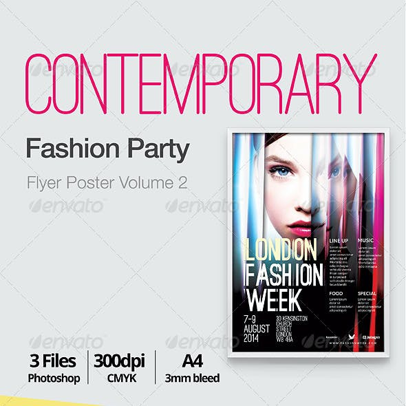 Contemporary Fashion Flyer Poster A4 Vol. 2